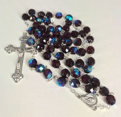 Catholic Black and Blue Rosary Crystal Beads Necklace Miraculous Medal Cross