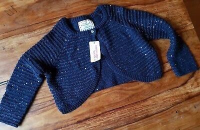 Girls Navy Sequins Cardigan age 4-5 years
