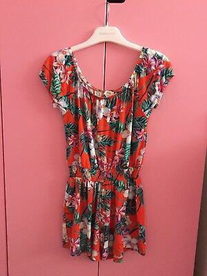 River Island Girls Orange Floral Playsuit Aged 7-8 Years