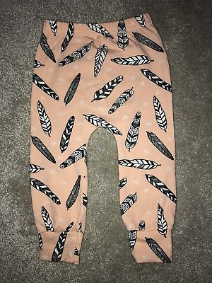 FRED & NOAH Pink Feathers Leggings 9-12 Months