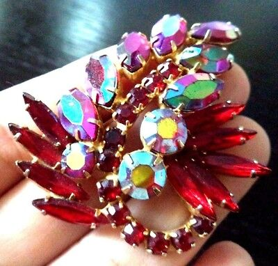 "*rare* Vintage Estate Signed Weiss Ab Red Rhinestone Flower 2 1/4"" Brooch G6919C"