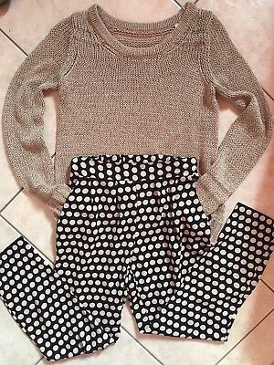 Outfit Completo Lotto Stock Donna Pantalone Pois Pences + Maglioncino Beige Tg S