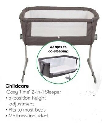 Childcare Cosy Time Sleeper Bedside Bassinet Cot Crib