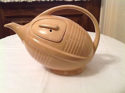 HALL CHINA TAN ATOMIC AGE MID CENTURE TEAPOT LIMITED EDITION w/ ORIGINAL LABEL