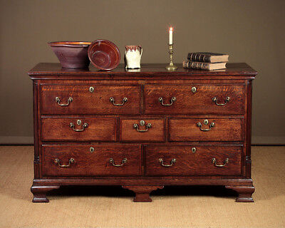 Antique 19th.c. Lancashire Seven Drawer Dresser Base c.1830.