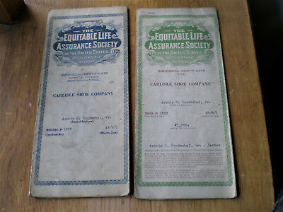 TWO CARLISLE SHOE CO Health Insurance Policies Equitable Life 1948 Certificates