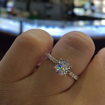 Engagement Ring Graceful Crystal Gems Princess Jewelry Accessories Lover Gift