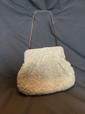 Vintage Ivory Seed Pearl And Iridescent Sequin Beaded Purse Formal Bride Bridal