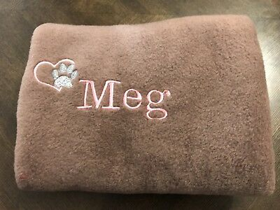Personalised Embroidered Dog/Puppy Fleece Blanket