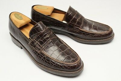 Ralph Lauren Womens Penny Loafers 11 B Brown Croc Print Leather Slip On Shoes