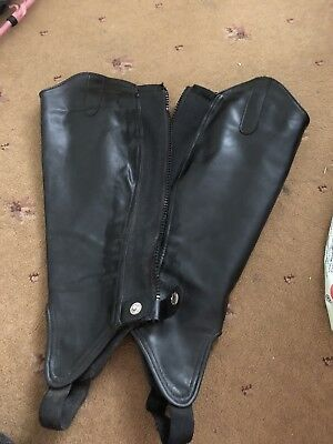 Shires Synthetic Leather Gaitors/ black half chaps/gaitors