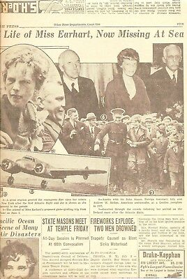 AMELIA EARHART 1937 original  MISSING at SEA , SEARCH EFFORTS, PHOTOS,  her life