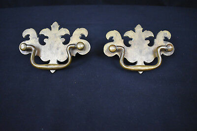 Antique Pair of Chippendale Brass Drawer Pulls Hardware