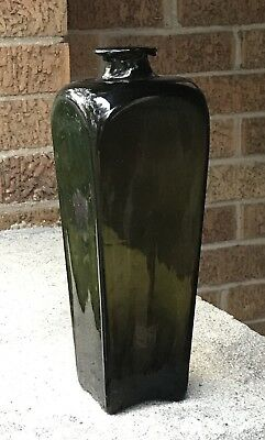 """Estate 18th Century Antique Case Taper Gin Flared Ring Lip 9.5"""" Tall Bottle"""