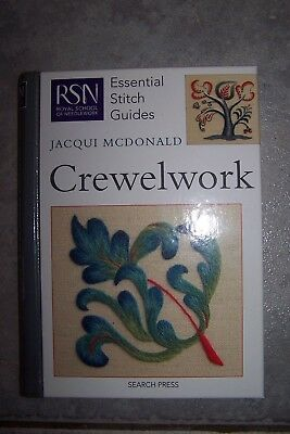 CREWELWORK essential stitch guides BOOK - Jacqui McDonald needle work embroidery