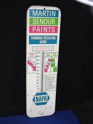 Vintage Martin Senour Paints NAPA Auto Parts Thermometer Sign Thinning Guide