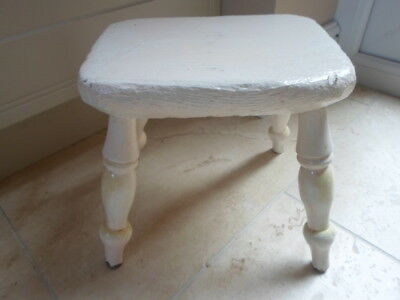 Antique Victorian small 4 legged milking stool, painted white, rustic farmhouse