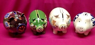 Lot of 4 Vintage Collectible Romanian Style Pottery Piggy Banks Unbroken
