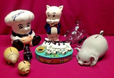 Lot of 8 Vintage Collectible Ceramic Pottery Glass and Plastic Piggy Banks