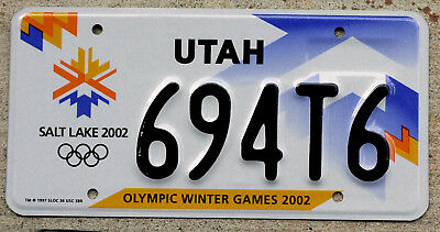 "Utah 2002 Salt Lake City Olympic Winter Games ""Olympics"" License Plate"