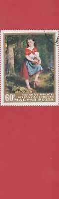 Girl in Forest by Miklos - Hungary Postage Stamp on  laminated bookmark