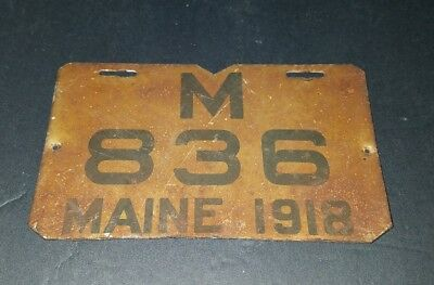 Vintage Antique Maine 1918 Motorcycle License Plate Very Rare Free Shipping