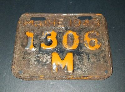 Vintage Antique Maine 1948 Motorcycle License Plate Very Rare Free Shipping