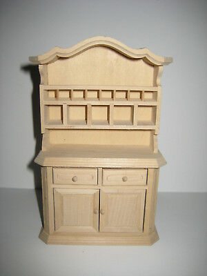 Dollhouse Miniature Unfinished Kitchen Hutch Display Cabinet 1:12 Scale