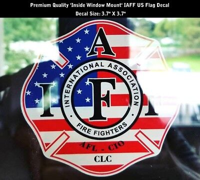 IAFF Firefighter Inside Glass Mount Decal US Flag Patriot 3.7 Inch PREMIUM 0263