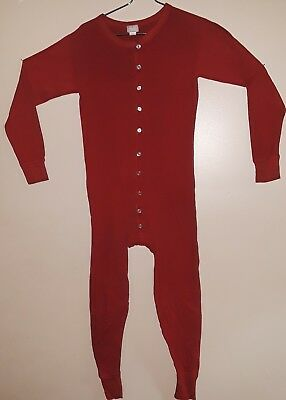 Vtg Duofold Union Suit Mens Large 42-44 Red Two Layer One Piece 70s 80s