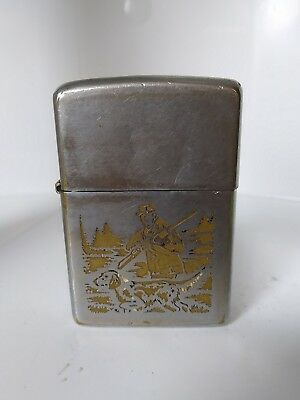 "🔫 Vintage 1974 Zippo Lighter Hunter Dog Hunting Sportsman Engraved Back ""LUKE"""
