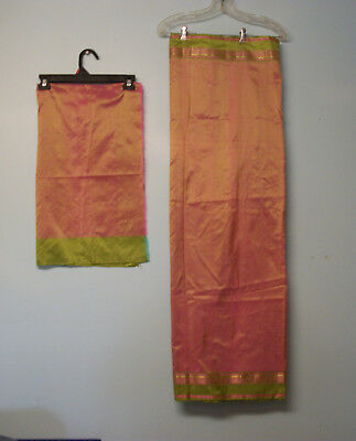 "IRIDESCENT SAREE/SARI DUSTY ROSE-OLIVE GREEN ART SILK FABRIC 45"" x 5 2/3 yards"
