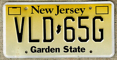 Black on Yellow New Jersey License Plate Embossed Version
