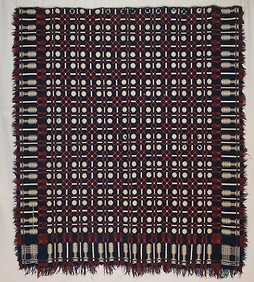 Antiques Blue & White Double Woven Coverlet - woven in the Snowball pattern