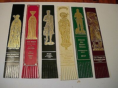 6 Leather Bookmarks - Brass Rubbings -Knights in Armour/Abbots/Ladies in Waiting
