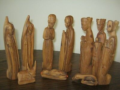 "Primitive 10pc African Nativity Set Wooden Hand Carved 7-"" tall figures"
