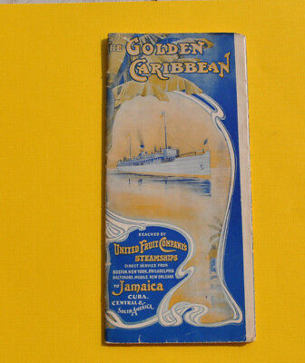 RARE Antique 1905 United Fruit Company Steamship Cruises The Golden Caribbean