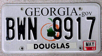 """Georgia """"Green State within Peach"""" License Plate DOUGLAS with a 2013 Sticker"""