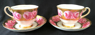 Pair of Royal Chelsea Tea Cups And Saucers ~ Pink Cabbage Rose
