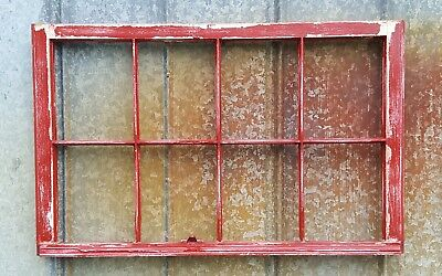 Salvaged Antique Window Sash - 8 PANE WOOD WINDOW 36x27 RED CHIPPY DISTRESSED