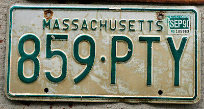 1985 Green on White Massachusetts License Plate with a 1990 Sticker
