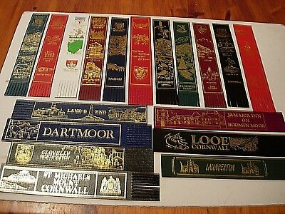 18 Leather Bookmarks - All from Devon and Cornwall - vgc - See all pictures