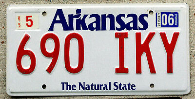 """Arkansas """"The Natural State"""" License Plate with a 2006 Sticker"""