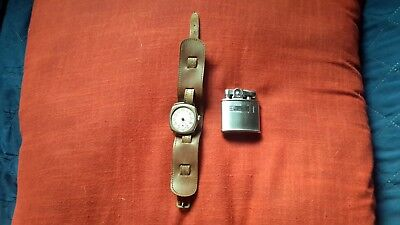 Wwii Rosieres Military Watch & Ronson Standard Lighter-Found In Wwii Duffle Bag