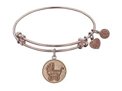"""Angelica Collection Non-antique Stipple Finish Brass""""new Mom"""" Expandable Bangle"""