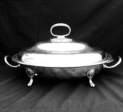 Stunning Antique Victorian Entree Serving Dish with Lid and Claw Feet