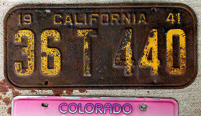 1941 Orange on Black California] License Plate