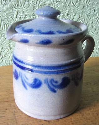 Burger Betschdorf Alsace Grey & Blue Small Lidded Jug Collectable/Studio/Pottery