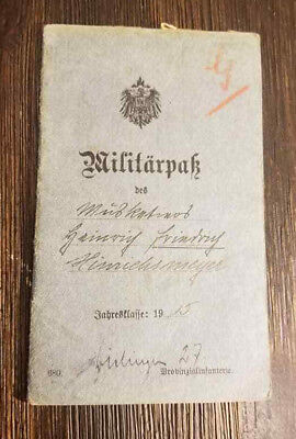 WW1 WWI German soldiers Militarpak Pass Military pass book booklet 1915-16