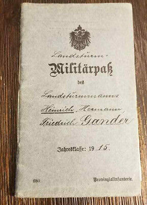 WW1 WWI German soldiers Militarpak Military pass book booklet National